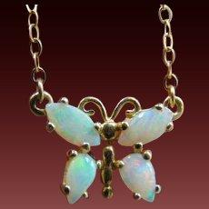 """14K Opal* Butterfly Necklace 17.5"""""""