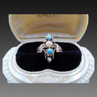 30% OFF Victorian Style 14k rose gold turquoise & Pearl Ring
