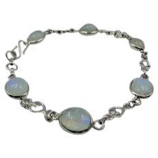 30% OFF Moonstone sterling silver bracelet| Rainbow moonstone bracelet