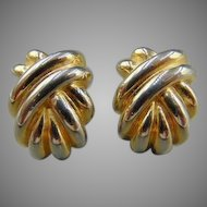 Givenchy Large Gold Tone Metal Clip Earrings
