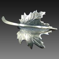 Beau Sterling maple leaf Mid Century Brooch