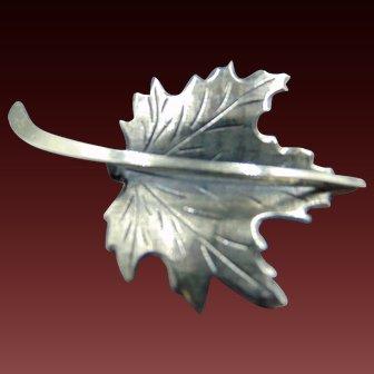 Beau Sterling maple leaf Mid Century Brooch