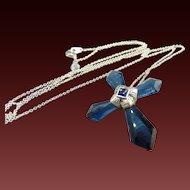 "Cobalt Blue Crystal Cross Pendant  22"" Chain"