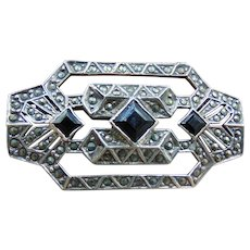 Art Deco Sterling Silver Marcasite Onyx Brooch