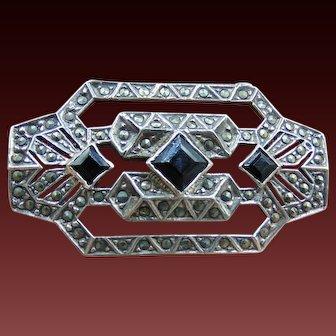 Art Deco Sterling Silver Marcasite Onyx Brooch