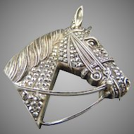 Stunning Alice Caviness Sterling Horse head Brooch Pin
