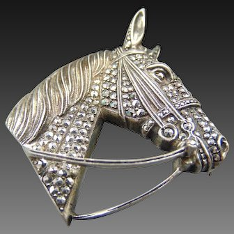 Stunning Alice Caviness Sterling Horse head Brooch Pin