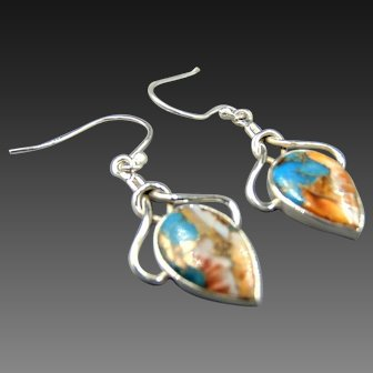 Sterling Spiny Oyster Turquoise teardrop earrings