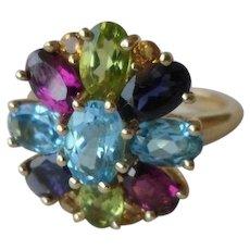 10% OFF 14K Multi Gemstone Cluster Ring