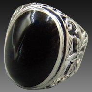 Men's Sterling Black Onyx ring Sz 10