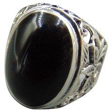 Men's Sterling Black Onyx ring Sz 10