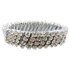 Japan Silver Tone Rhinestone Stretch Bracelet