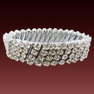 Silver Tone Rhinestone Stretch Bracelet Marked Japan