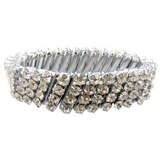 Silver Tone Rhinestone Stretch Bracelet Marked Japan