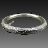 20% OFF Antique Repousse Sterling Silver Hinged Chinese Bangle