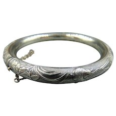 Antique Repousse Sterling Silver Hinged Chinese Bangle