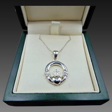 Sterling Silver Claddagh Necklace Pendant and Chain