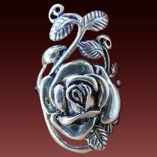 Sterling Silver Rose leaf  ring Size 8