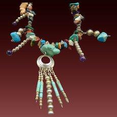 "Sterling Native American Precious Stones Fetish Necklace 26"""