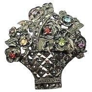 50% OFF sterling Multi gemstone flower basket brooch