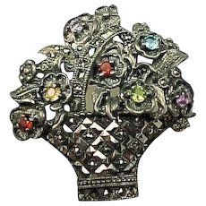 50% OFF sterling Multi gemstone flower basket brooch
