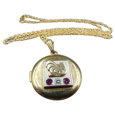 Genuine Diamond/Ruby 12k GF Photo Locket