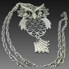 HUGE Whimsical Owl silver tone necklace