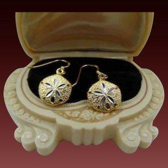 25%OFF 14k over Sterling sand dollar earrings