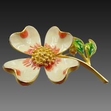 Vintage 1950's Enamel Flower Brooch