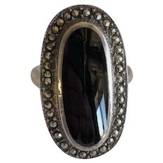 Heavy Onyx and marcasite ring sterling silver, onyx vintage ring, onyx rings, vintage rings, onyx rings, onyx and marcasite