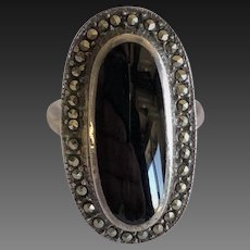 Large Onyx and marcasite ring sterling silver, onyx vintage ring, onyx rings, vintage rings, onyx rings, onyx and marcasite