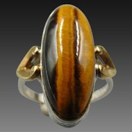 Antique Clark and Coombs Tigers Eye 10k GF Sterling Ring
