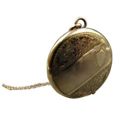 Antique F.H.S Co Victorian Era 14K GF Floral Locket Made in U.S.A