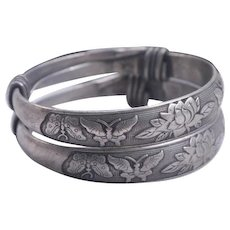 Old Chinese Tibetan Wedding Silver Bangle Bracelets Pair
