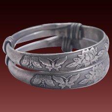 Old Chinese Tibetan Wedding Silver Bangle Bracelets Pair