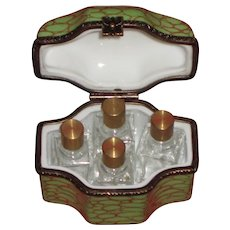 Limoges France Peint Main Perfume Bottles Trinket Box