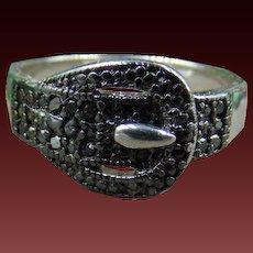 Vintage Genuine Black Diamond Sterling silver Buckle Ring