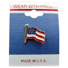 80's American Flag Pin Free Shipping NOS