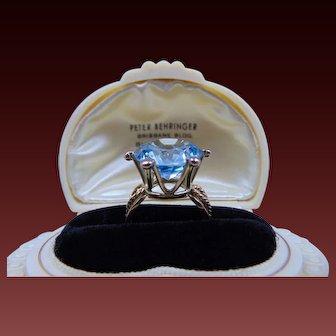 Vintage HUGE 14 Karat Yellow Gold and Blue Topaz Ring Size 8