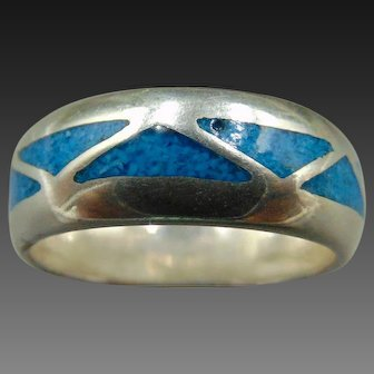 Estate Turquoise inlay Sterling Silver Band