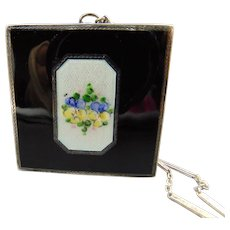 Elgin Sterling Silver Guilloche Dance Purse Compact