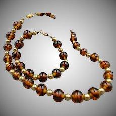 Art Glass Tiger Eye Gold Beaded Necklace and Bracelet Set