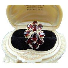 Estate 925 Garnet Cluster Ring Size 6
