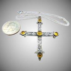 Baltic Amber Sterling Maltese Cross Pendant Necklace