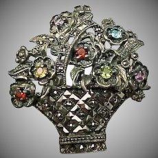 30% OFF Heavy Sterling Multi gemstone flower basket brooch