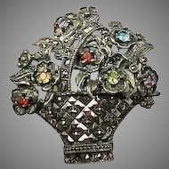 Heavy Sterling Multi gemstone flower basket brooch