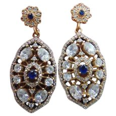 20% OFF Sapphire diamond paste 9k 9ct gold & sterling silver drop earrings