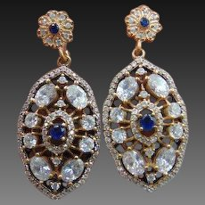 Sapphire diamond paste 9k 9ct gold & sterling silver drop earrings