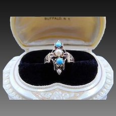 Victorian Style 14k rose gold turquoise & Pearl Ring