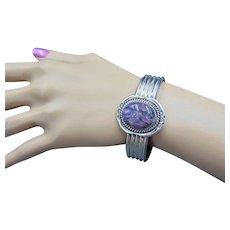 Oscar Alexius sterling sugilite Native American cuff bracelet